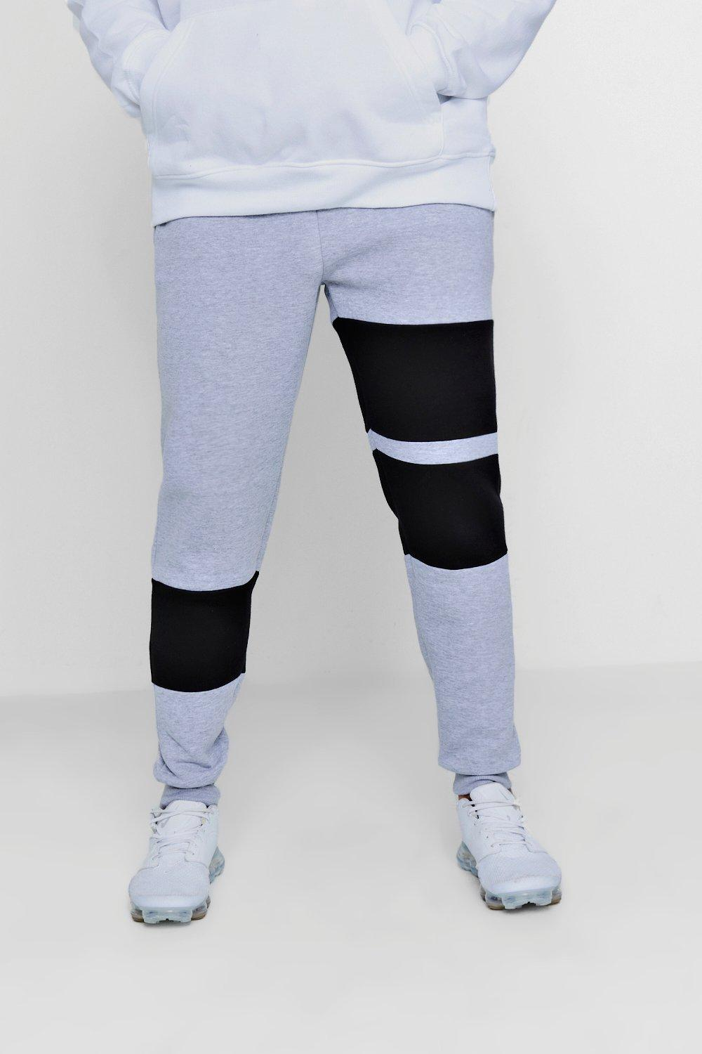 Fleece Jogger grey Skinny Colour Panelled Block qwHn8vz6t