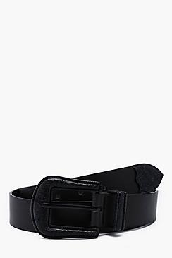 Matte Black Buckle Western Faux Leather Belt