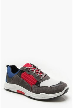 Mens Red Faux Suede Colour Block Chunky Trainers