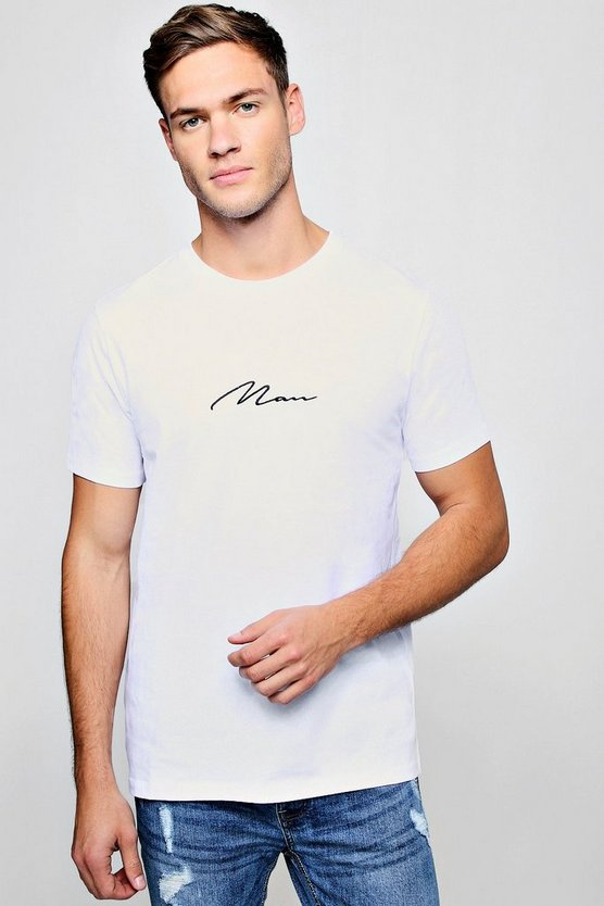 Mens White MAN Signature Embroidered T-Shirt