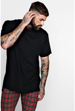 MAN Embroidered Neckline Loose Fit T-Shirt, Black, Uomo