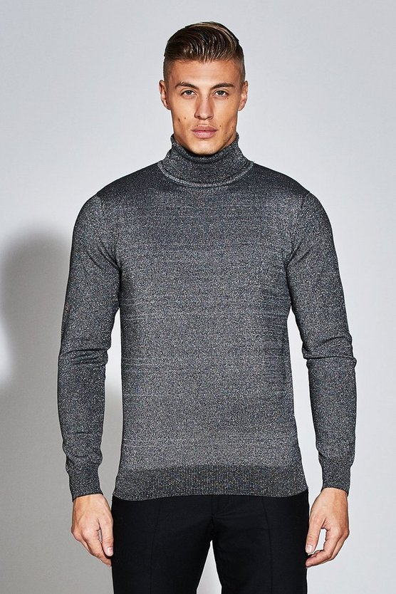 Premium Roll Neck Jumper With Metallic Thread