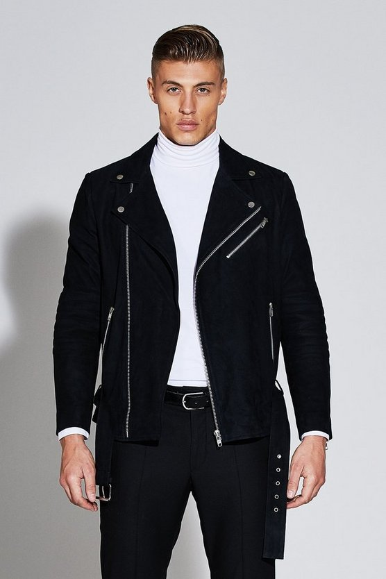 Premium Real Suede Black Biker Jacket