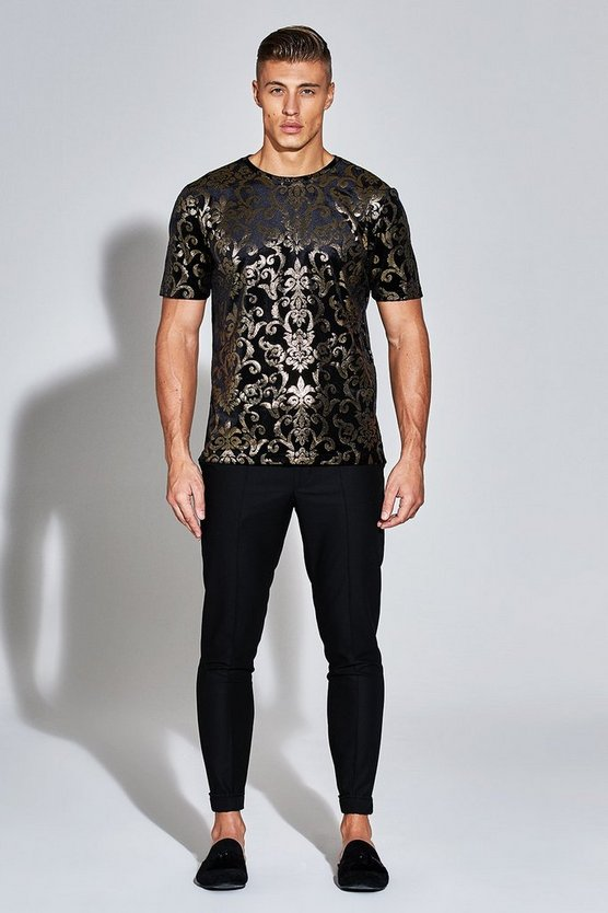 Premium Velour T-Shirt With Gold Foil Print