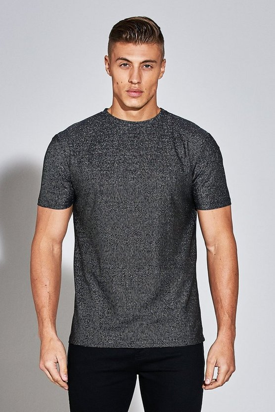 Premium Metallic Stripe Woven T-Shirt