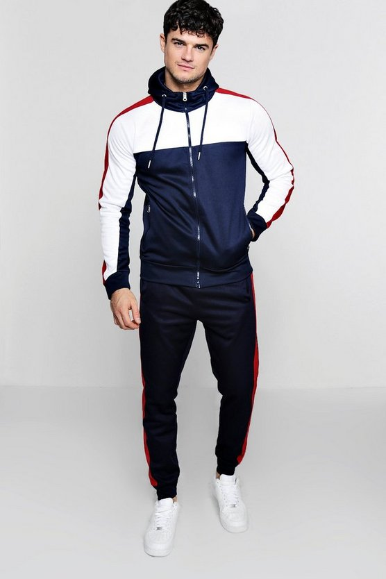 Tricot Colour Block Zip Through Hooded Tracksuit
