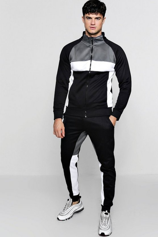 Colour Block Funnel Neck Tricot Tracksuit