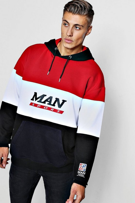 Mens Multi Colour Block Man Sport Hoodie