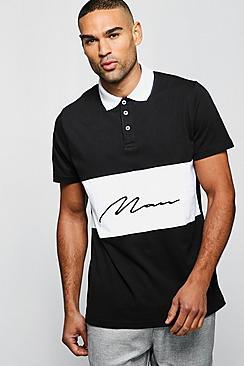 Short Sleeve Colour Block Man Polo