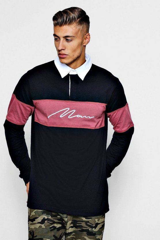 Long Sleeved Contrast Man Panel Rugby Polo