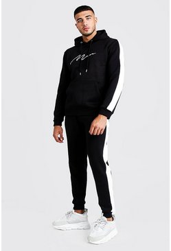 Mens Black Contrast Panel Tracksuit With Gold MAN Embroidery