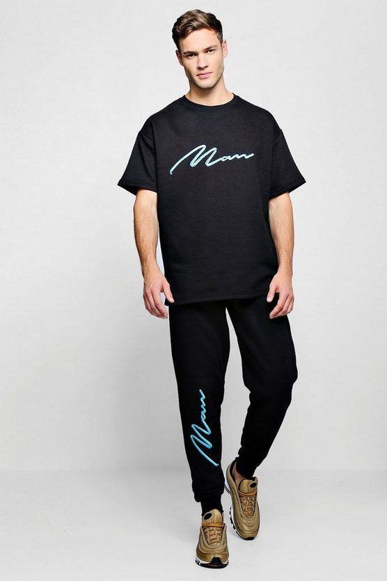 Man Signature Embroidered T-Shirt & Loose Jogger Set