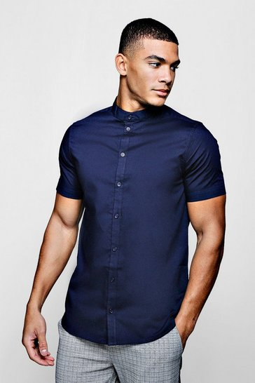 Mens Navy Muscle Fit Grandad Collar Short Sleeve Shirt