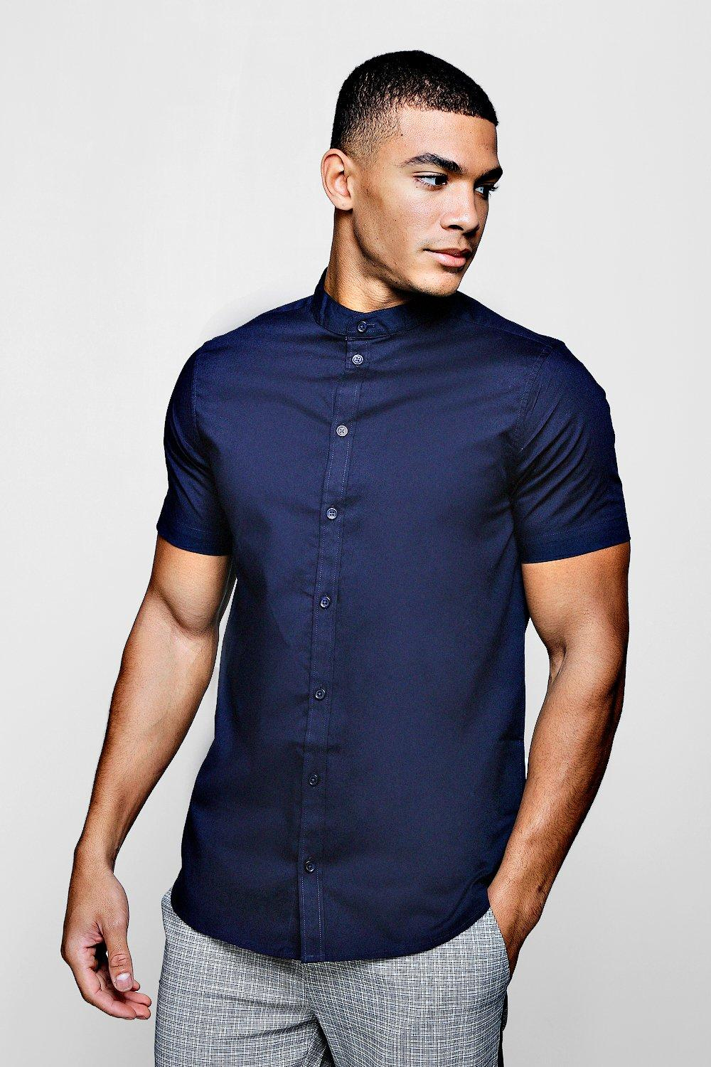21e26c7d Mens Navy Muscle Fit Grandad Collar Short Sleeve Shirt. Hover to zoom