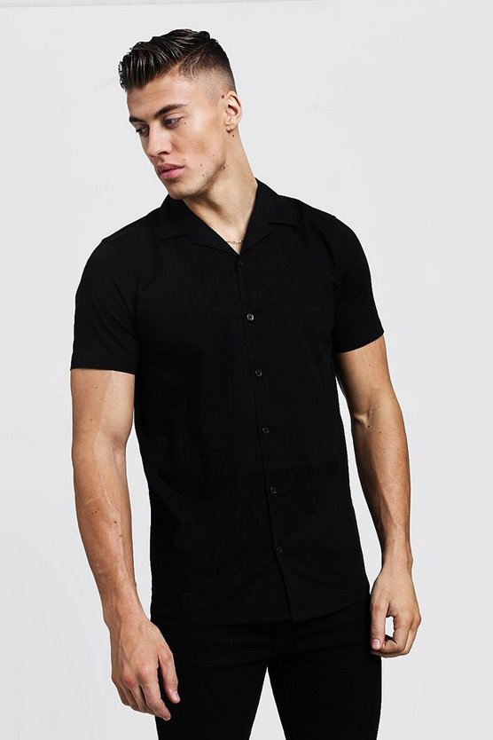 Mens Black Muscle Fit Revere Collar Short Sleeve Shirt