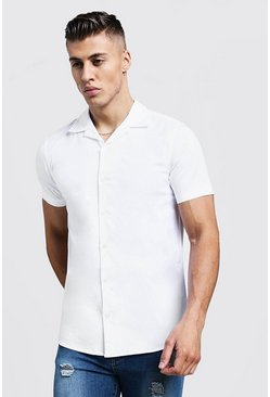 Muscle Fit Revere Collar Short Sleeve Shirt, White, МУЖСКОЕ