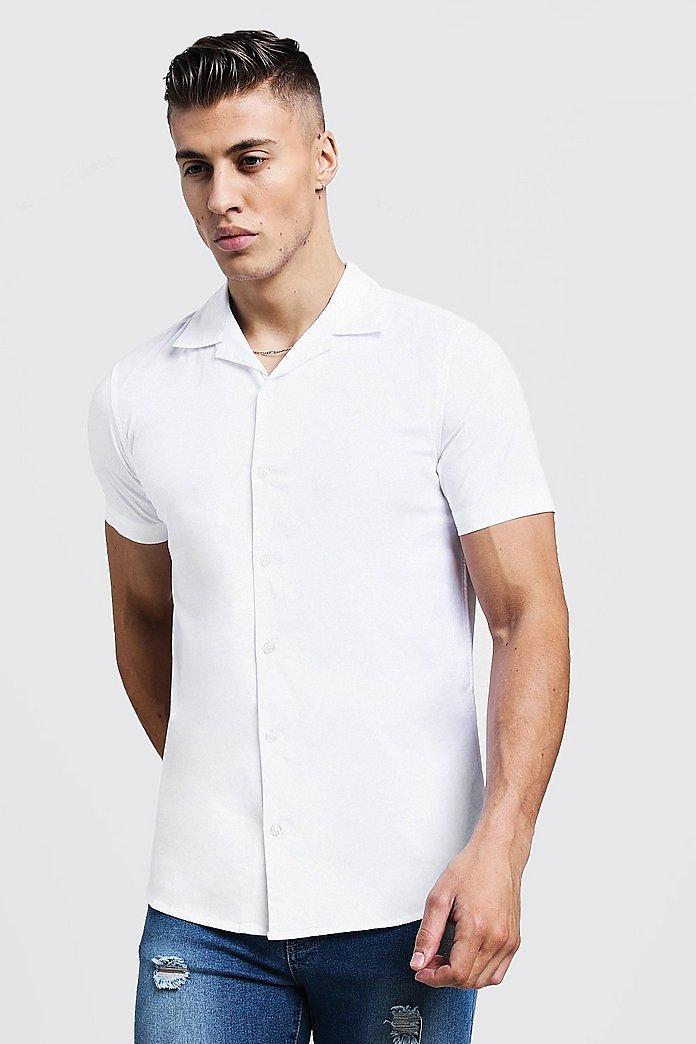 HTOOHTOOH Mens Stripe Long Sleeve Muscle Blouse Button Down Shirt