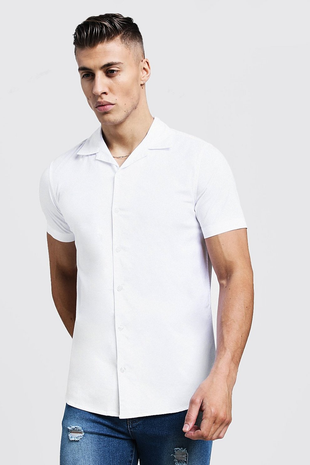 170af397 Mens White Muscle Fit Revere Collar Short Sleeve Shirt. Hover to zoom
