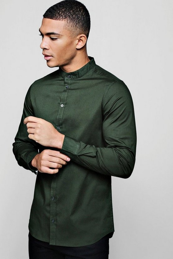 Khaki Muscle Fit Grandad Collar Long Sleeve Shirt