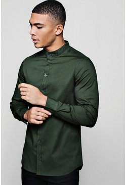 Mens Khaki Muscle Fit Grandad Collar Long Sleeve Shirt