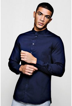 Mens Navy Muscle Fit Grandad Collar Long Sleeve Shirt