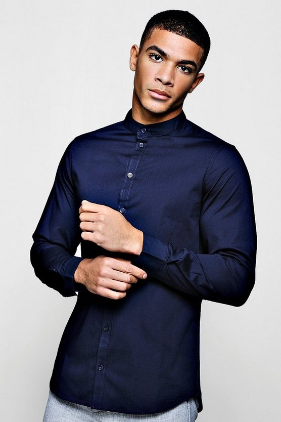 Muscle Fit Grandad Collar Long Sleeve Shirt