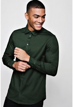 Khaki Muscle Fit Long Sleeve Shirt