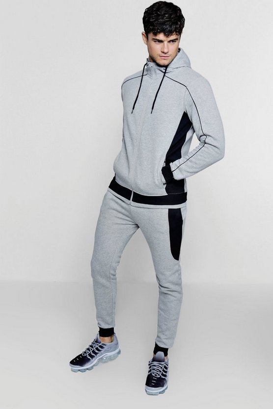 Side Panel Hooded Tracksuit With Piping
