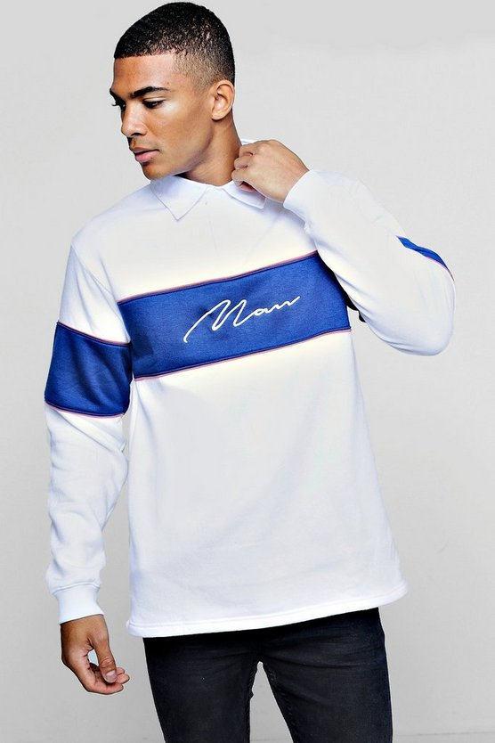 Mens Blue Long Sleeved Contrast Panel Man Signature Rugby Sweat