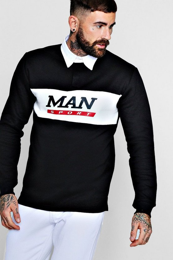 Contrast Panel Man Sport Rugby Sweater