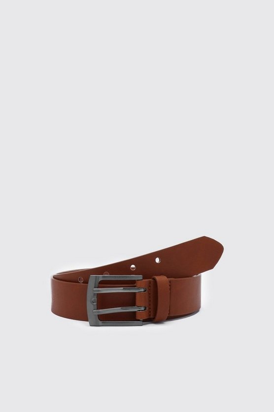 Mens Tan Faux Leather Double Prong Buckle Belt