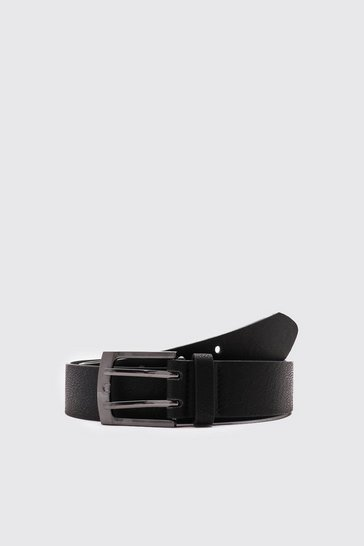 Black Faux Leather Double Prong Buckle Belt