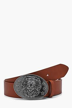 Lion Design Faux Leather Plate Buckle Belt