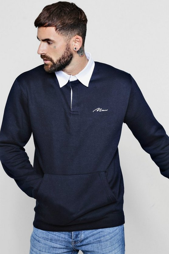 Man Fleece Rugby Shirt With Kangaroo Pocket