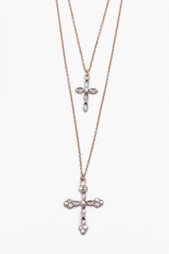 Cross Pendant Double Layer Necklace