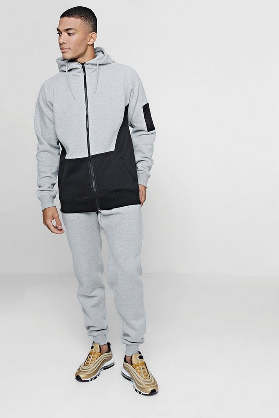 Colour Block Tracksuit With Contrast Pocket