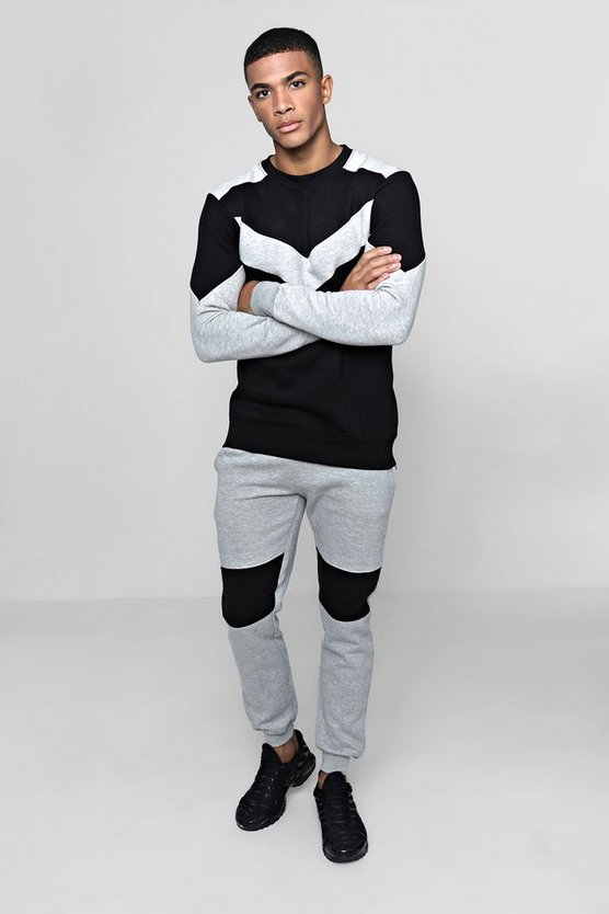 Contrast Panel Sweater Tracksuit With Biker Detail