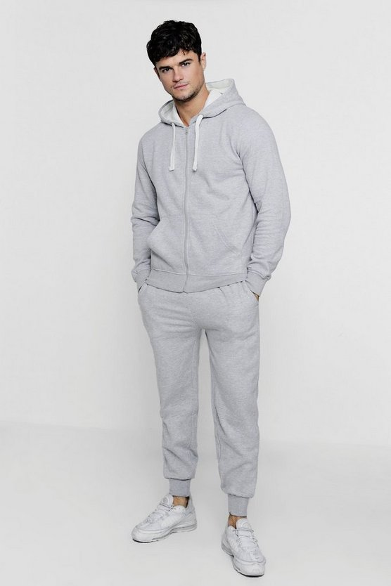 Zip Through Hooded Tracksuit With Contrast Drawcords