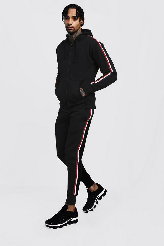 Zip Through Hooded Tracksuit with Tape Detailing
