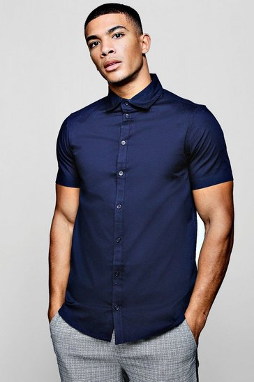 Mens Navy Muscle Fit Short Sleeve Shirt