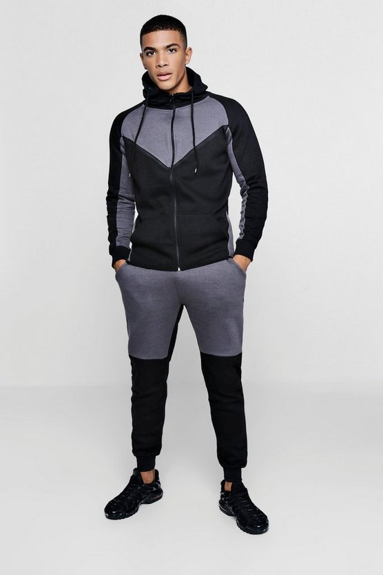 Zip Through Colour Block Tracksuit