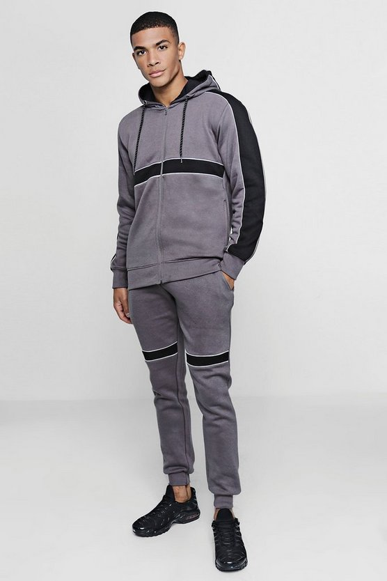 Hooded Panelled Tracksuit With Contrast Piping