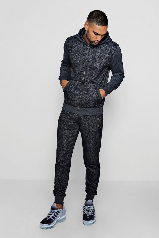 Hooded Zip Through Melange Tracksuit