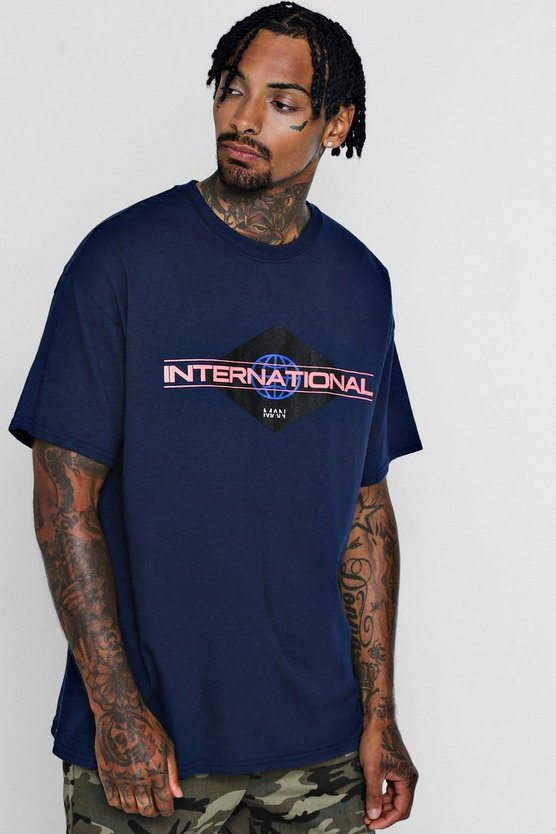 Mens Navy Oversized International MAN Print T-Shirt