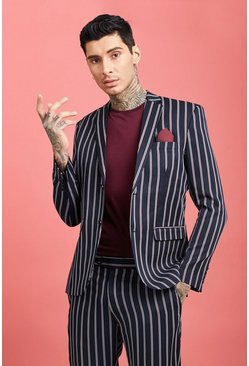 Wide Set Stripe Skinny Fit Suit Jacket, Navy, HOMBRE