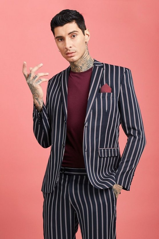 Wide Set Stripe Skinny Fit Suit Jacket, Navy, МУЖСКОЕ