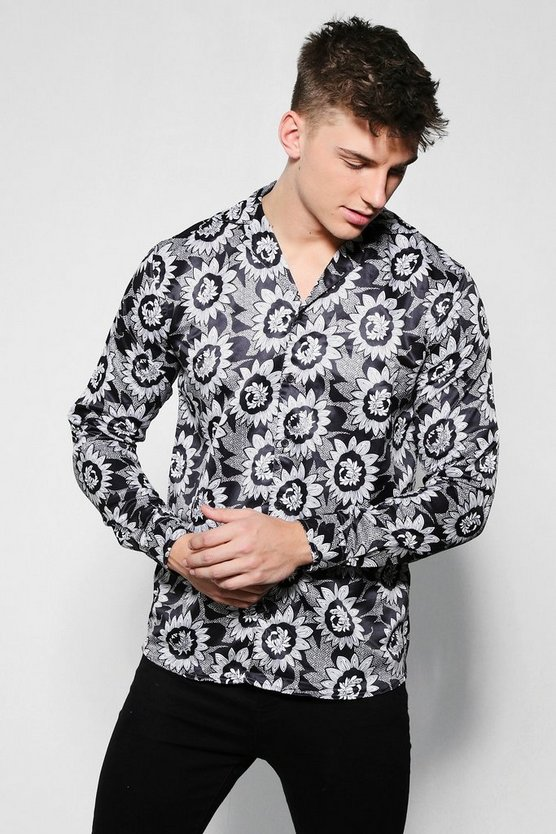 Mono Floral Print Long Sleeve Satin Shirt