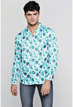 Mens White Painted Floral Print Long Sleeve Satin Shirt