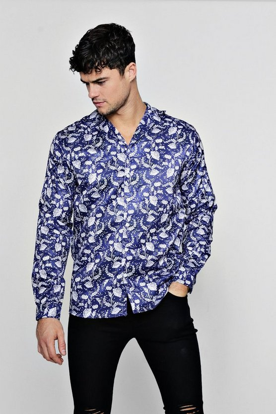 Floral Print Long Sleeve Revere Satin Shirt