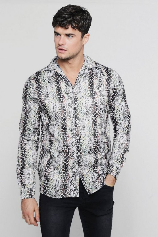 Snakeskin Print Long Sleeve Revere Satin Shirt